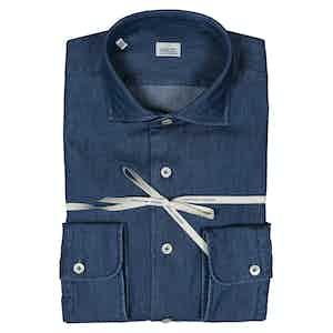 Dark Blue Washed Denim French Collar Shirt