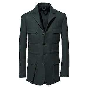 Green Wool Tweed Safari Jacket