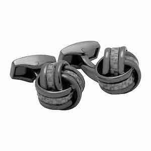 Gunmetal Grey Knot Carbon Fibre Cufflinks