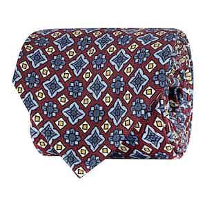 Bordeaux Silk Twill Geometric Print Tie
