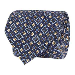 Blue Silk Twill Geometric Print Tie