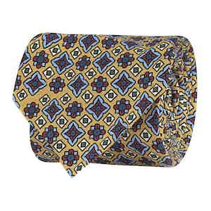 Yellow Silk Twill Geometric Print Tie