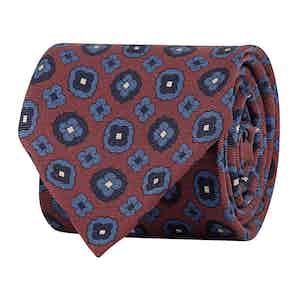 Red Silk Twill Geometric Print Tie