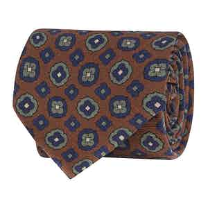 Brown Silk Twill Fantasia Geometric Print Tie