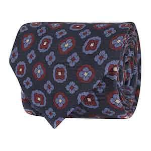 Navy Silk Twill Geometric Print Tie
