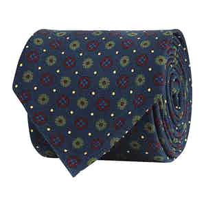 Royal Blue Silk Twill Floral Print Tie