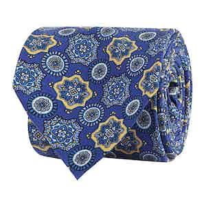 Blue Silk Twill Floral Print Tie
