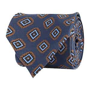 Deep Blue Silk Twill Geometric Print Tie