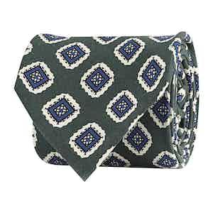 Green Silk Twill Geometric Print Tie