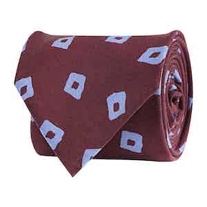 Bordeaux Silk Twill Fantasia Geometric Print Tie