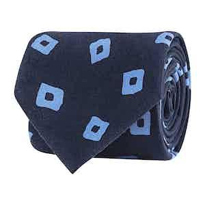 Navy Blue Silk Twill Geometric Print Tie