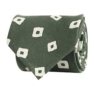 Light Green Silk Twill Geometric Print Tie