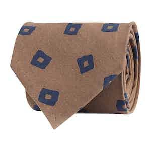 Faint Brown Silk Twill Geometric Print Tie