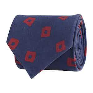 Dark Blue Silk Twill Geometric Print Tie