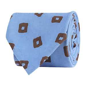 Pale Blue Silk Twill Geometric Print Tie