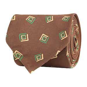 Brown Silk Twill Geometric Print Tie