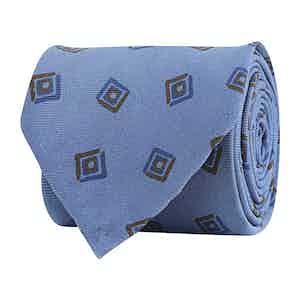 Cerulean Blue Silk Twill Geometric Print Tie