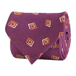 Cyclamen Silk Twill Geometric Print Tie