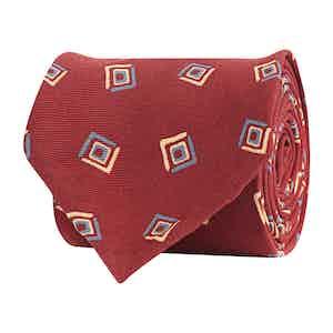 Crimson Silk Twill Geometric Print Tie