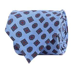 Sky Blue Silk Twill Geometric Print Tie