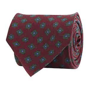 Deep Red Silk Twill Geometric Print Tie