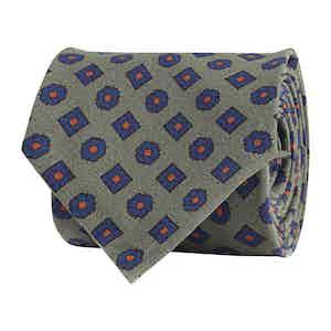 Sage Green Silk Twill Geometric Print Tie