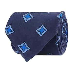 Azure Blue Silk Twill Geometric Print Tie
