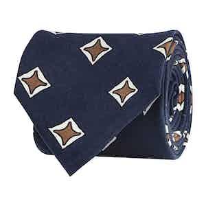 Admiral Blue Silk Twill Geometric Print Tie
