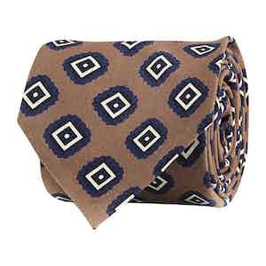 Peanut Brown Silk Twill Geometric Print Tie