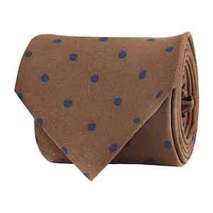 Brown Silk Twill Dot Print Tie