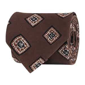 Pecan Brown Silk Twill Geometric Print Tie