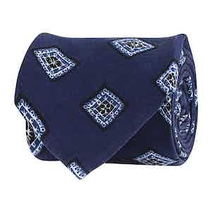 Lapis Blue Silk Twill Geometric Print Tie