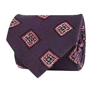 Purple Silk Twill Geometric Print Tie