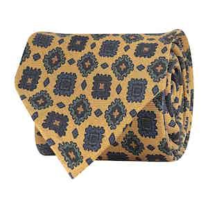 Yellow Silk Blend Twill Geometric Print Tie