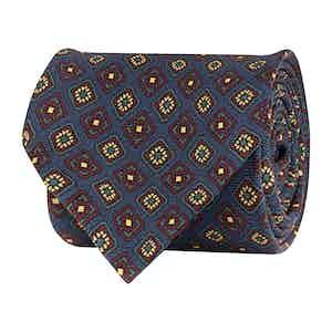 Dark Blue Silk Twill Medallion Print Tie
