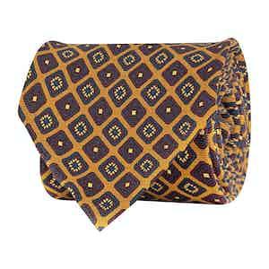 Canary Yellow Silk Twill Medallion Print Tie