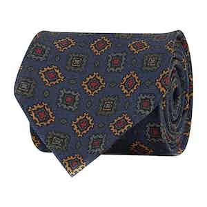 Cobalt Blue Silk Twill Geometric Print Tie