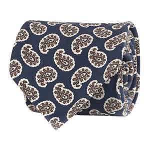 Persian Blue Silk Twill Geometric Print Tie