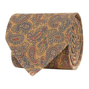 Tuscan Sun Yellow Silk Twill Paisley Print Tie