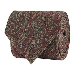 Bordeaux Silk Twill Paisley Print Tie