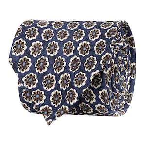 Cobalt Blue Silk Twill Floral Print Tie