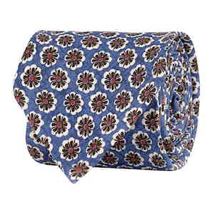 Cerulean Blue Silk Twill Floral Print Tie