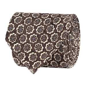 Dark Brown Silk Twill Floral Print Tie
