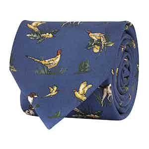 Royal Blue Silk Twill Hunting Print Tie