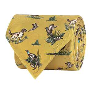 Golden Yellow Silk Twill Hunting Print Tie