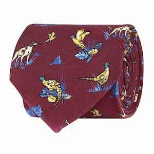 Scarlet Red Silk Twill Hunting Print Tie