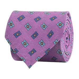 Lilac Silk Twill Geometric Print Tie