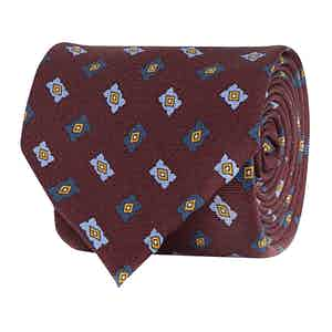 Bordeaux Red Silk Twill Geometric Print Tie