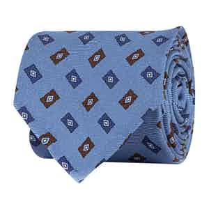 Turqiouse Blue Silk Twill Geometric Print Tie