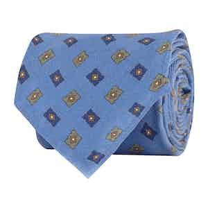 Teapot Blue Silk Twill Geometric Print Tie